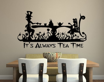 Alice In Wonderland Removable Vinyl Wall Decal Die Cut Sticker Mad Hatter  Tea Party Decoration Its
