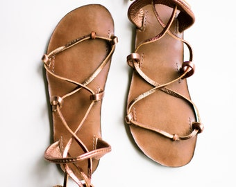 BELLA CARIBE BRONZE on Chocolate Footbed  Lace Up Sandals