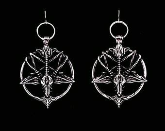 BAPHOMET earrings, satanic jewelry, occult jewelry, ear weights, inverted cross, inverted pentagram, sabbatic goat, venom, welcome to hell