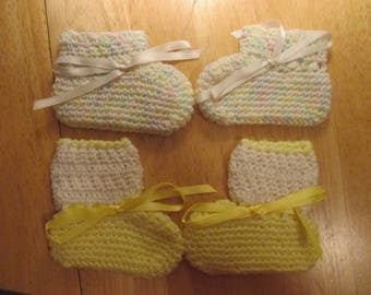 Hand Crocheted Baby Booties- set of 2 pair - Yellow and Pastels