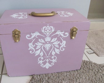 Shabby Chic Romantic Large Wood Storage Box Light Pink Distressed