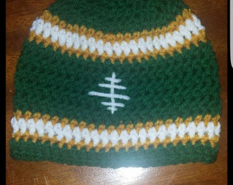 Crocheted football beanie