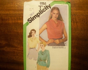 Simplicity Pattern - 9765 - Misses Blouse With Bias Front ...Adjustable For Miss Petite - Size 14 - Factory Fold, Uncut Pattern