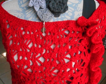 """Red passion"" crocheted shoulder warmer"