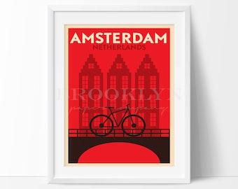 Amsterdam Print, Netherlands Vintage Travel Poster, City Illustration, City Poster, Retro Poster, Vintage Travel City Print, Not Framed