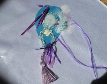 """Turquoise leather and flowers """"The Hippocrene source"""" winged horse necklace"""