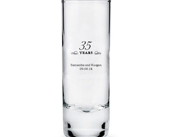 Set of 36 Thirty-fifth Anniversary Tall Shot Glasses - Personalized Shot Glasses - Personalized Party Glasses - Anniversary Glasses - Favor