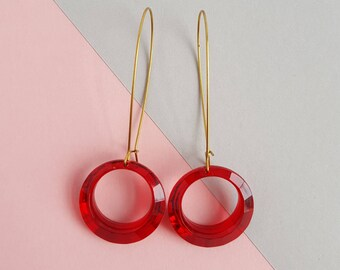 Faceted lucite statement drop earrings