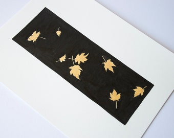ORIGINAL Golden leaf painting, black and gold art, bohemian decor, black and gold, ink drawing, botanical painting, leaf painting