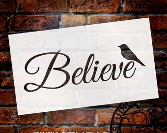 Believe Word Stencil with Bird by StudioR12 | Reuseable Mylar Template | Use to Paint Wood Signs - DIY Inspiration Home Decor - SELECT SIZE