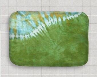Tie Dye Bath Mat -  Kitchen Mat - Green Blue Yellow - Memory Foam - Fleece Top - Bathroom Mat