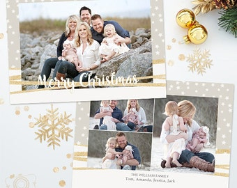 Holiday Christmas Card Template for Photographers - 5x7 Photo Card 033 - C312, INSTANT DOWNLOAD