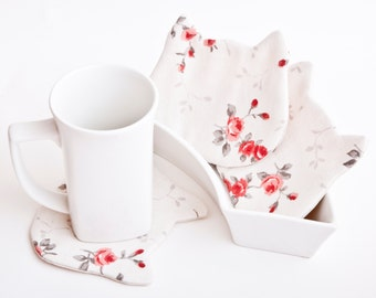 Cat Fabric Coasters for cups, White Kitchen Decor Cat Coasters White Coffee and Tea mat Table Wear Floral Pattern Drinkware set of 4
