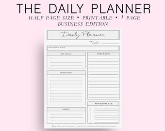 Half Page Size Business Daily Planner, Daily Planner Printable, Daily Planner Pages, Daily Planner Inserts, Everyday Planner, Diy Planner