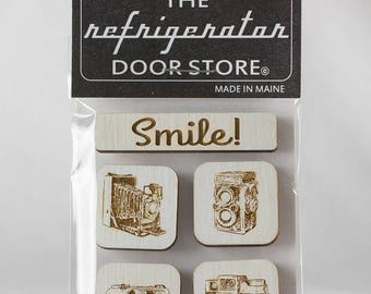 Refrigerator Magnet. Fridge Magnets. Kitchen Magnets. Kitchen Decor. Magnets. Smile. Vintage Cameras.