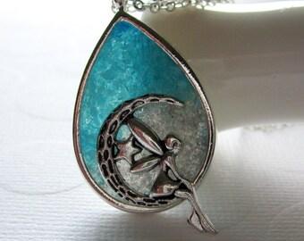 Fairy Necklace, Blue Fairy, Teardrop Pendant, Fairy Sitting on Crescent Moon Blue Teardrop Necklace Fairy Tale Jewelry Sprite
