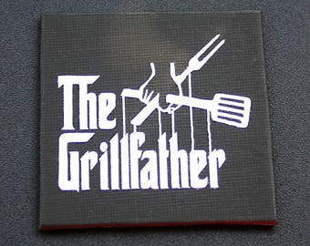 The Grillfather Mini Canvas Magnet - Three by Three Inch