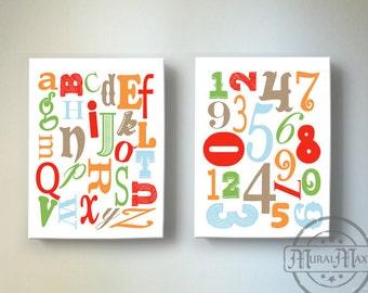 Alphabet and Numbers Canvas Art - ABC Nursery Decor. Alphabet print, ABC Print, Number Print Childrens art, Canvas Art Set Reproduction