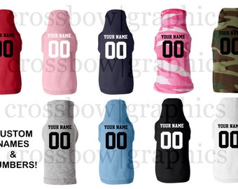 CUSTOM PET Jersey Tank T-Shirt Personalized ANY Color Name Number Dog Canine Football Baseball Softball New!