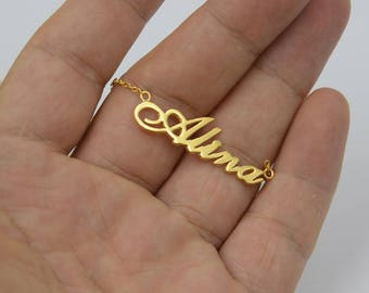 Name necklace gold-Custom name plate necklace-sterling silver plated gold-Christmas gift for girls