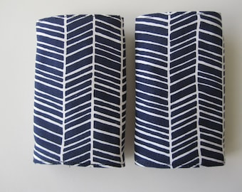 Pair of drool pads for your baby carrier-  ergobaby navy herringbone