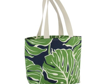 Small Shopping Tote Deluxe-Navy Blue Monstera, Waterproof lined, Made in Hawaii