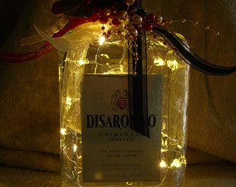 Lighted DiSaronno Bottle with Warm White LED Battery Operated Lights