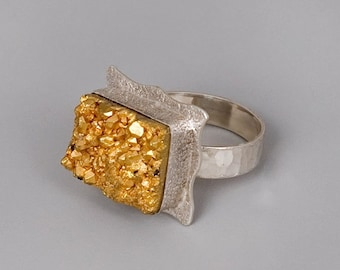 Black Friday SALE Silver Gold Ring, Raw Stone Ring, Raw Agate Ring, Sterling Silver Ring, Gemstone Ring, Designer Ring, Statement Ring, U...