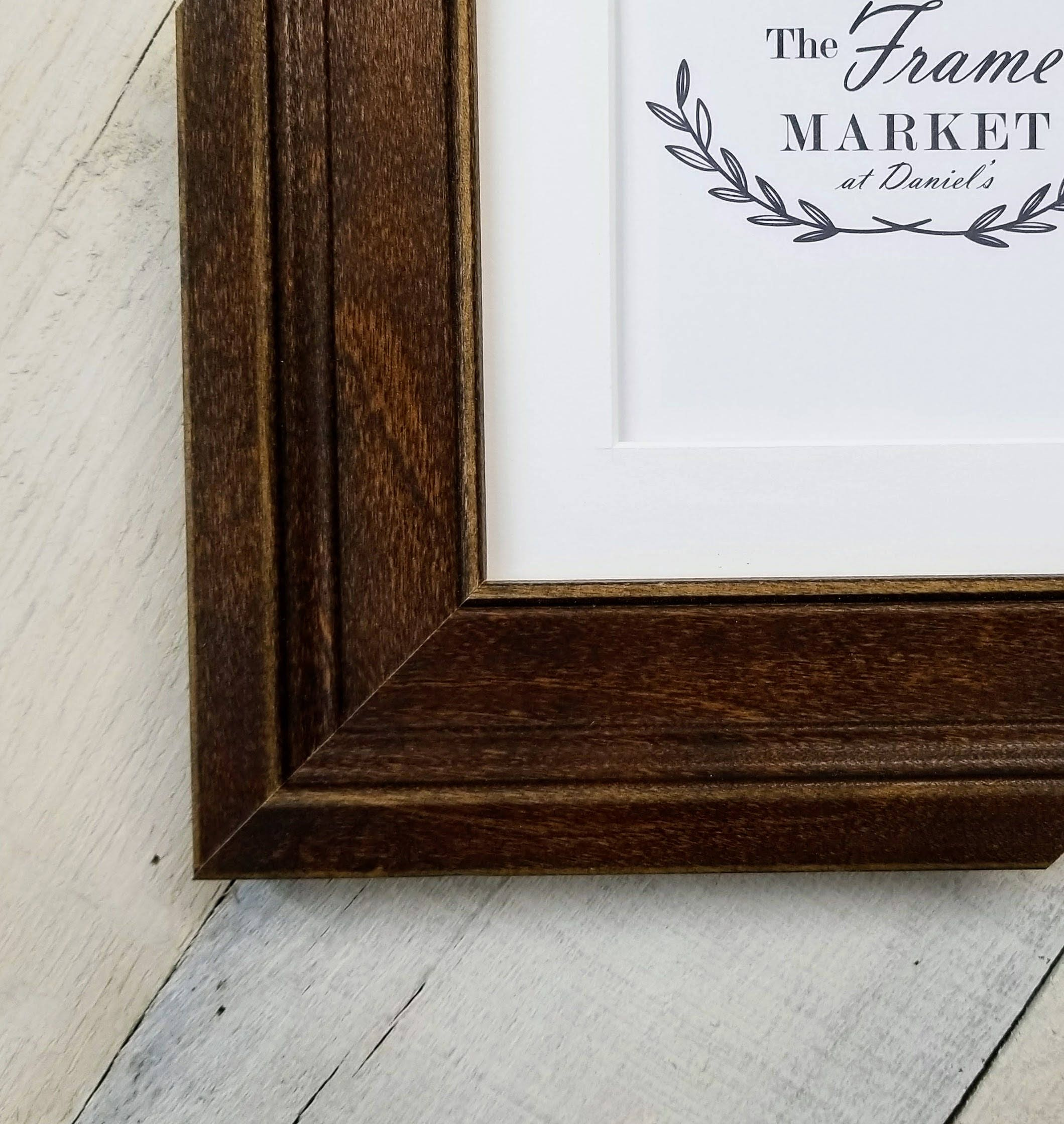 Oliver Coffee Wood Picture Frame with White Mat 8x10, 9x12, 11x14 ...