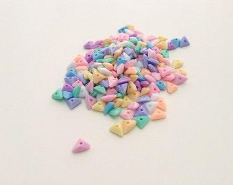 Tiny Triangle mix colors plastic pastel bead - 50 pcs