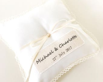Beautiful Handmade Personalised Wedding Ring Pillow