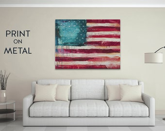 Metal artwork Metal flag abstract painting of American flag home decor wall art print distressed artwork 11x14 16x20 fourth of july