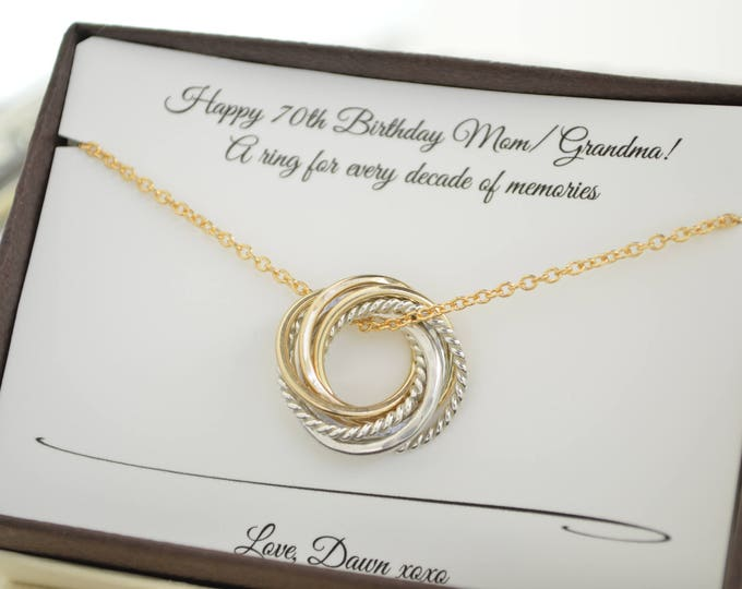 70th Birthday gift for grandma and mom, 7 Petite mixed metals rings, 7th Anniversary gift for wife, Gold rings necklace, Family of 7 gift