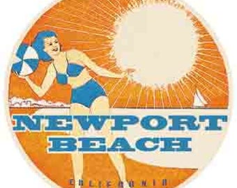 Vintage Style Newport Beach  California   Travel Decal sticker