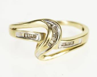 10k 0.12 Ctw Diamond Inset Wavy Curvy Band Ring Gold