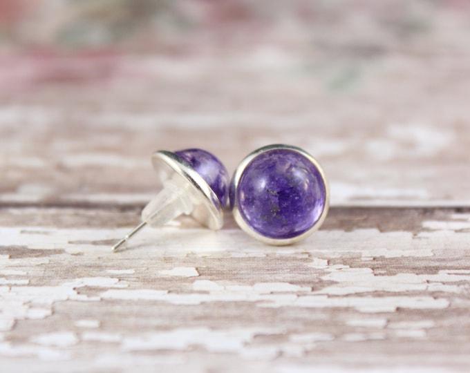Small Purple Statice Stud Earrings