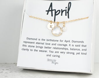 April Birthstone Personalized Gold Necklace, April Personalized Necklace, Crystal Gold Necklace, April Birthday Jewelry, Bridesmaid Necklace