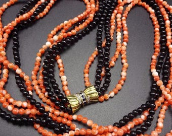 Old Estate CORAL and ONYX Bead 5 Strand Necklace Sapphire & Diamond 14K GOLD Clasp