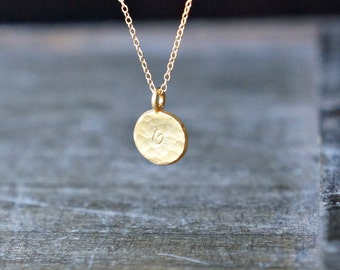 Initial Disc Necklace / Petite Hammered Gold Dot on a gold filled chain ... choose your custom hand stamped letter or leave plain