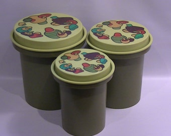 Vintage Rubbermaid Canisters - Mushroom Patch Greens