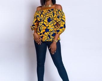 Off-shoulder, Ankara off-shoulder, African print Off-shoulder, African print top, African clothing, Ankara top, Ankara clothing, Summer top.