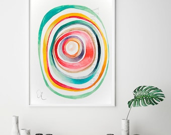 Abstract Painting Giclee Print, multicolored circles art, modern kitchen wall decor, colorful watercolor print , happy painting print