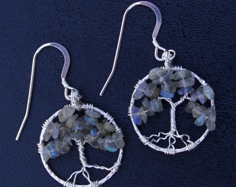 Labradorite Sterling Silver Tree of Life Wire Wrapped Earrings