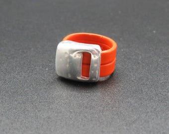 Leather and metal ring handmade orange, Christmas, birthday gift