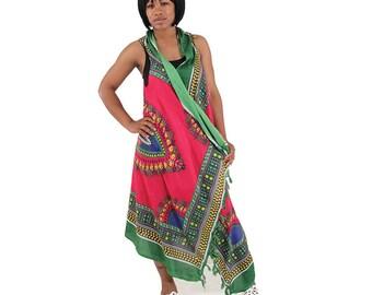 Fuschia Traditional Print Sarong