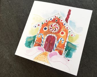 Gingerbread House Holiday Art Card