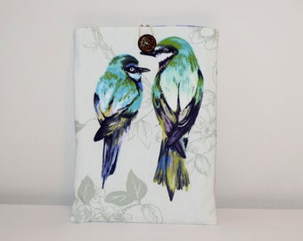 iPad Cover, Blue iPad Case, Tablet Cover, Tablet Case Birds, Blue Tablet Sleeves, iPad Sleeves, Birds iPad Cover, Fabric iPad Cover Birds