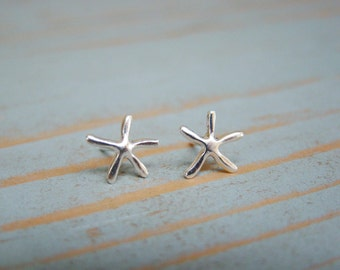 Silver Starfish Earrings , Starfish Stud Earring , Sterling Silver , Stocking Stuffer , Ocean , Nautical Jewelry