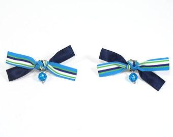 Aqua Blue Striped Bow Shoe Clips, Casual or Dressy for Flip Flops, High Heels, Summer Sandles, Wedding Shoe Clips