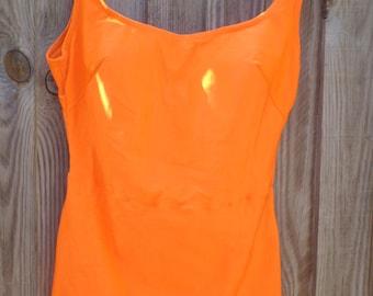 Vintage 1960s/ 1970s Trend bright orange swimming costume / bathing suit - size 40